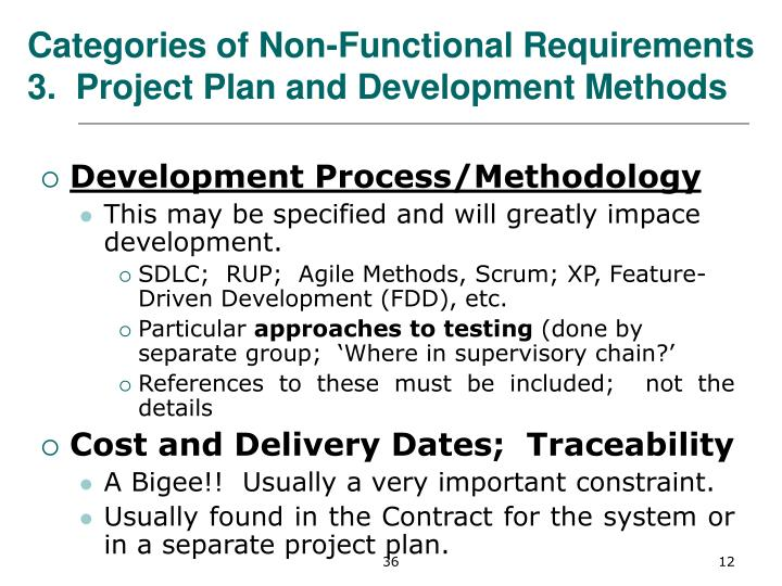 Categories of Non-Functional Requirements