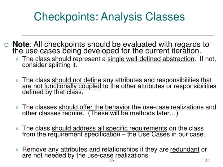 Checkpoints: Analysis Classes