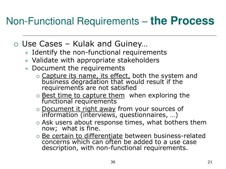 Non-Functional Requirements –