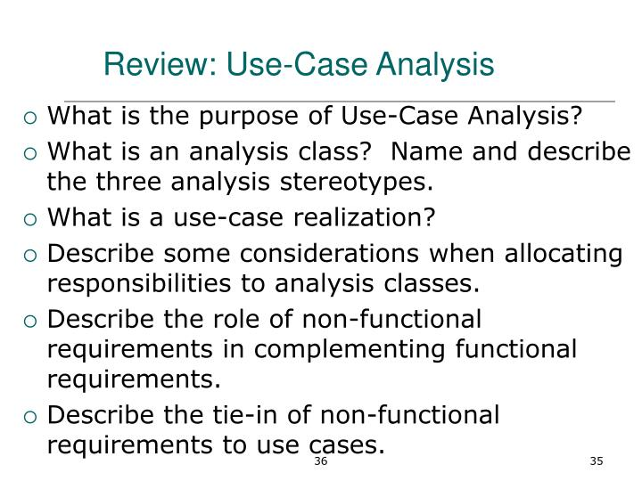 Review: Use-Case Analysis