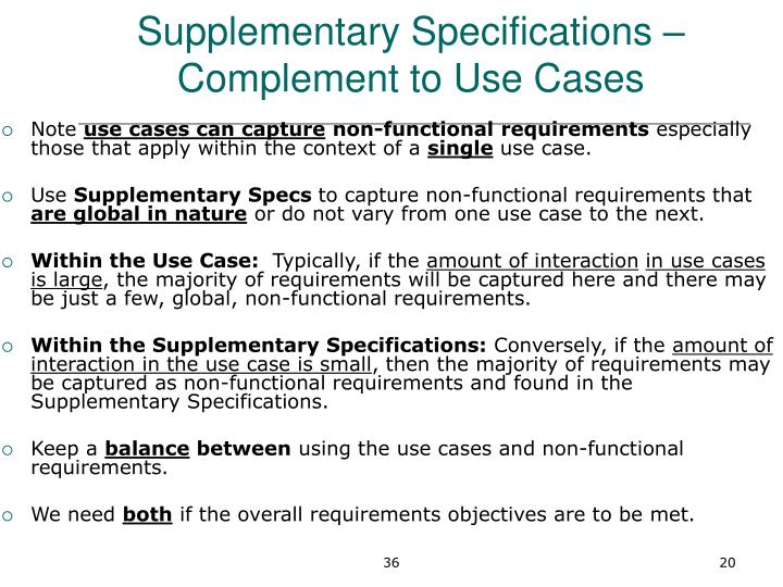 Supplementary Specifications – Complement to Use Cases