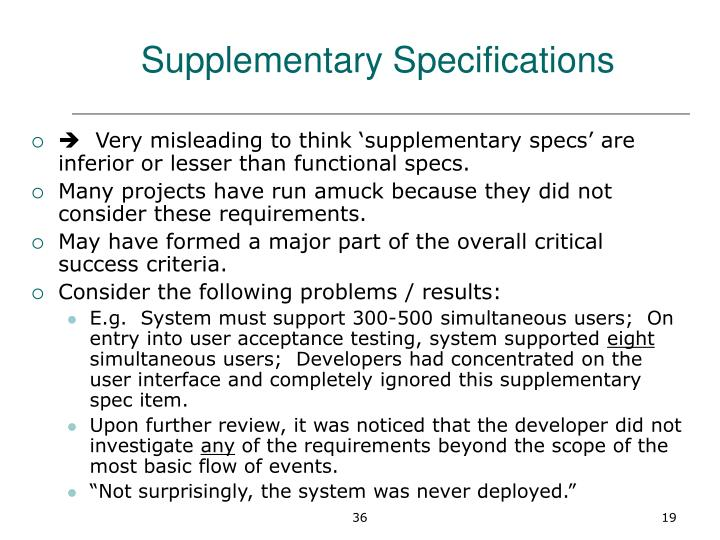 Supplementary Specifications