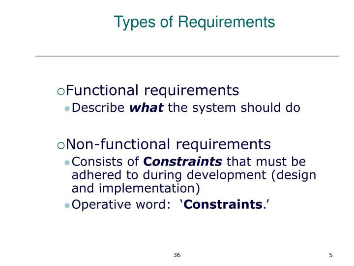 Types of Requirements