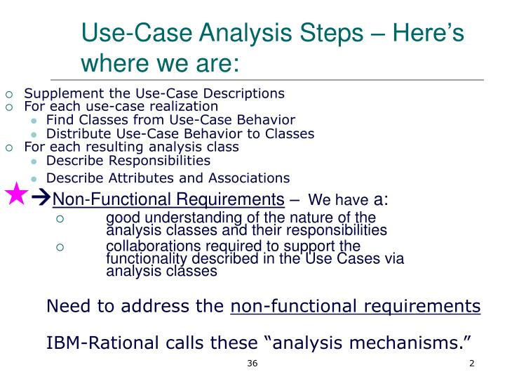 Use case analysis steps here s where we are