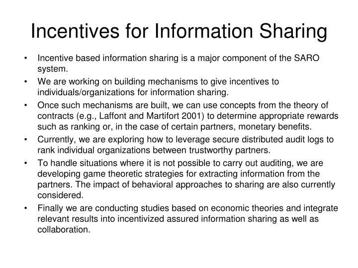Incentives for Information Sharing
