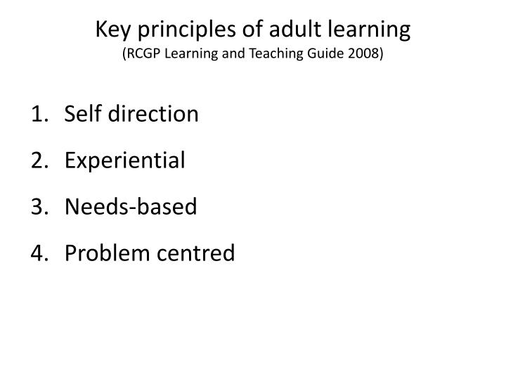 Key principles of adult learning
