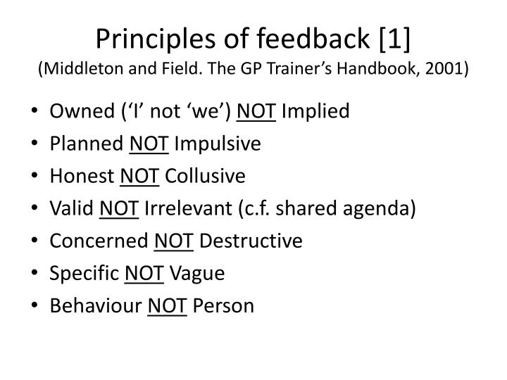 Principles of feedback [1]