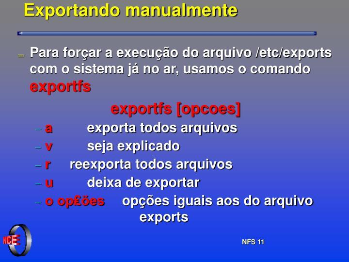 Exportando manualmente