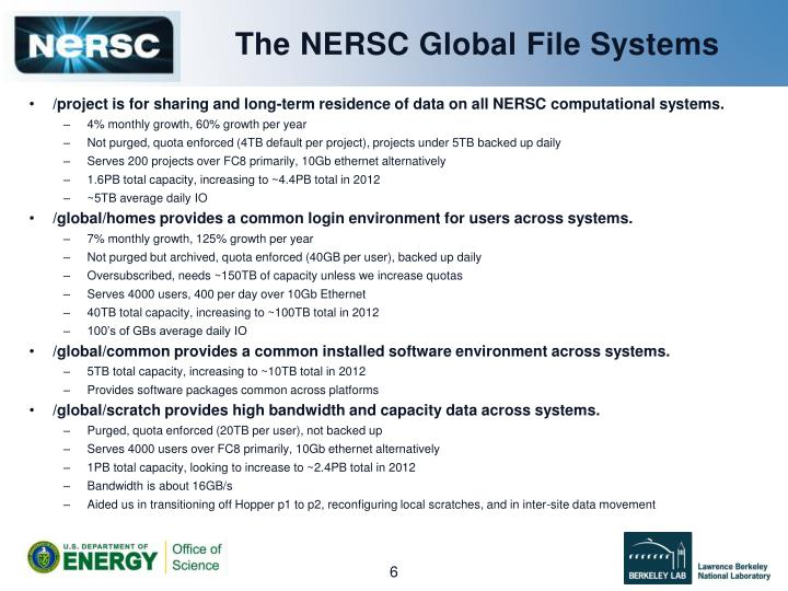 The NERSC Global File Systems
