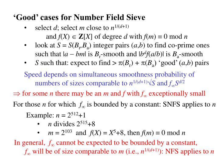 'Good' cases for Number Field Sieve