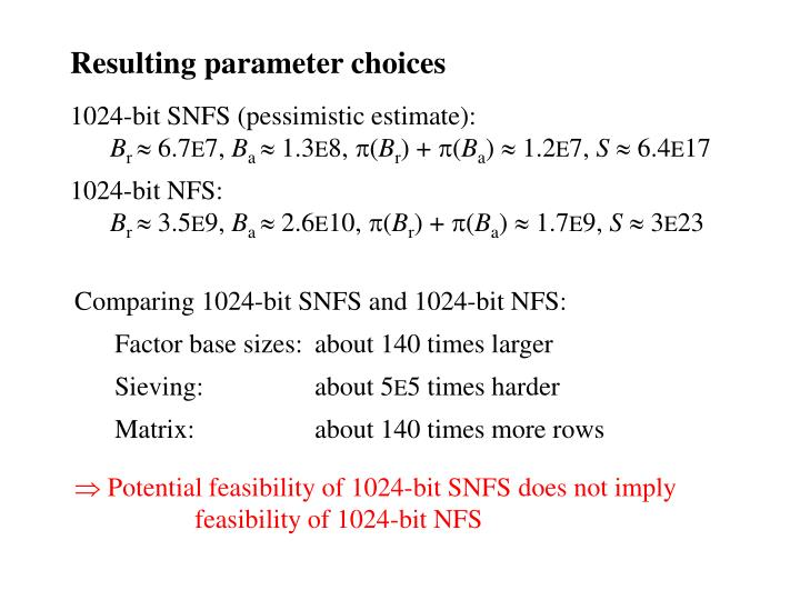 Resulting parameter choices
