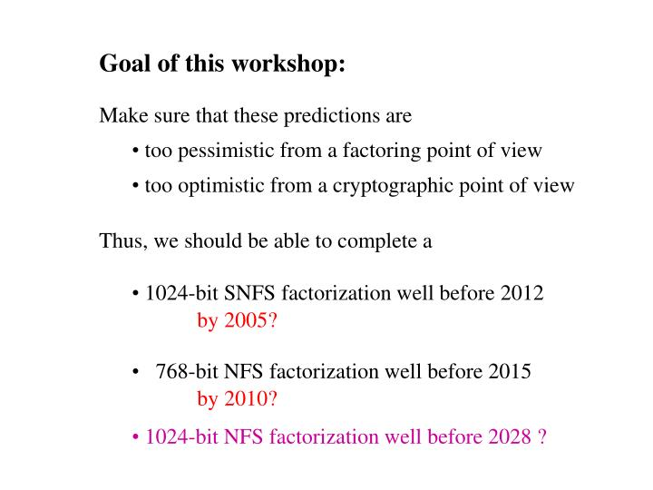 Goal of this workshop: