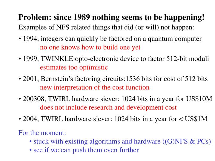 Problem: since 1989 nothing seems to be happening!