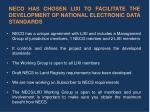 neco has chosen lixi to facilitate the development of national electronic data standards