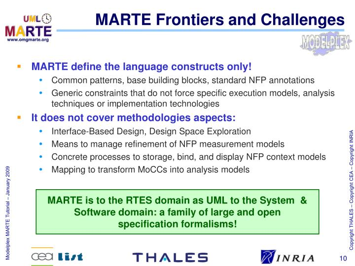 MARTE Frontiers and Challenges
