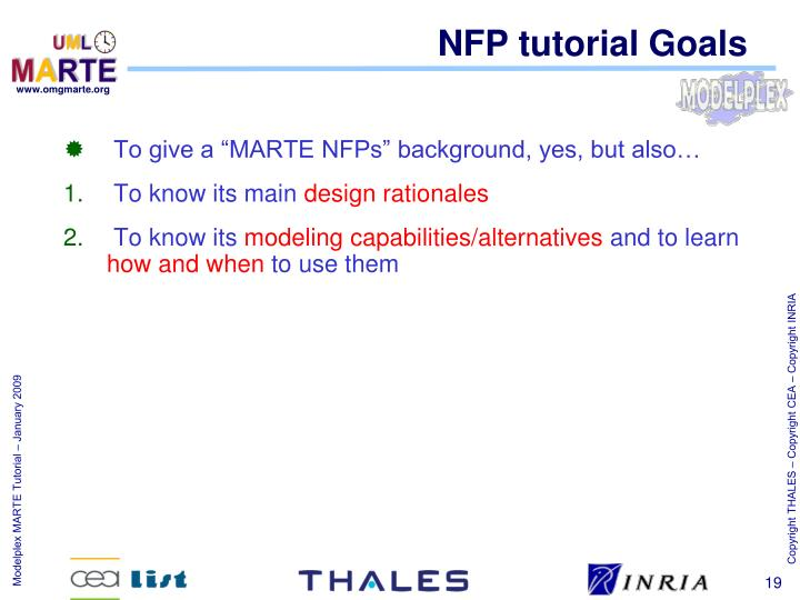 NFP tutorial Goals