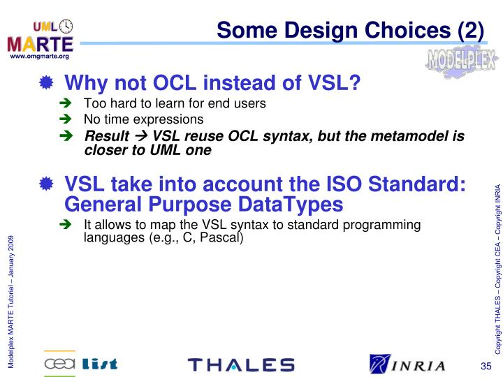 Some Design Choices (2)