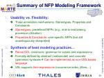 summary of nfp modeling framework