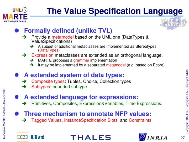 The Value Specification Language