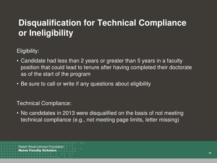 Disqualification for Technical Compliance