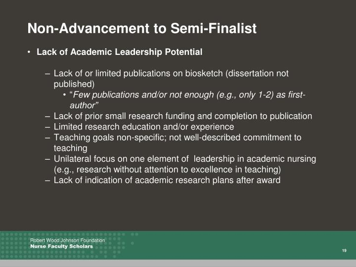 Non-Advancement to Semi-Finalist