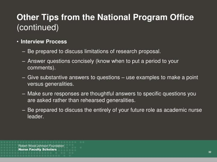 Other Tips from the National Program Office