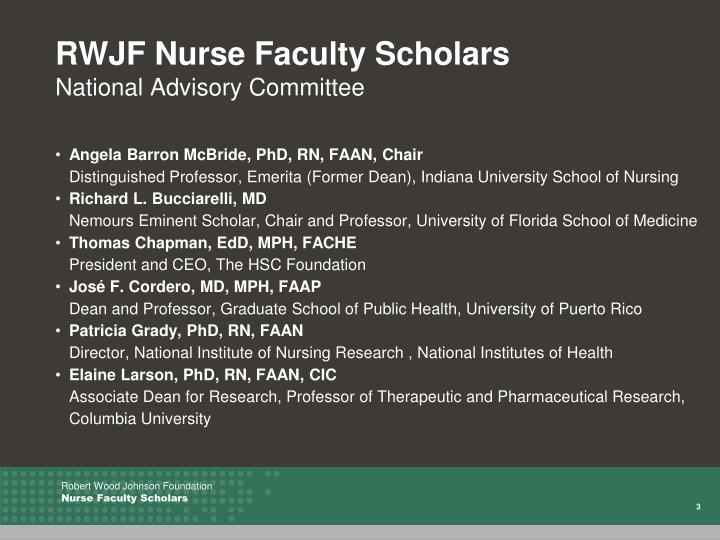 Rwjf nurse faculty scholars national advisory committee