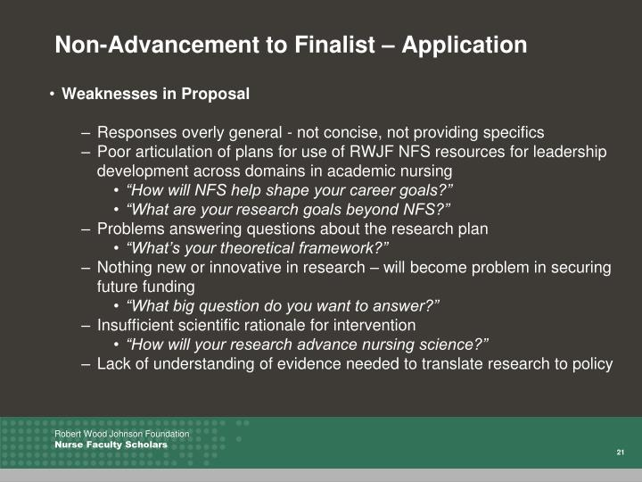 Non-Advancement to Finalist – Application