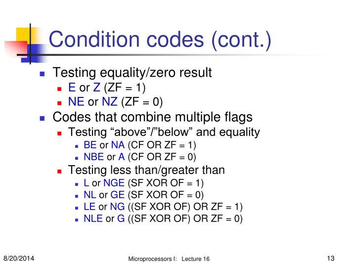 Condition codes (cont.)