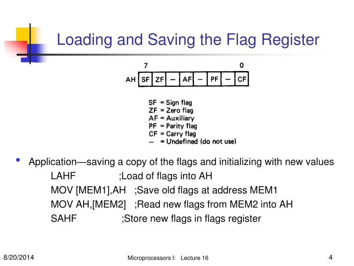 Application—saving a copy of the flags and initializing with new values