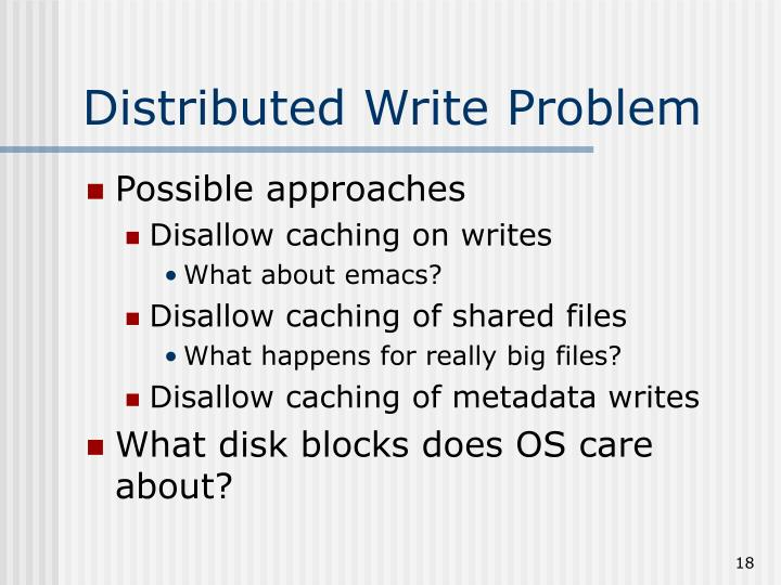 Distributed Write Problem