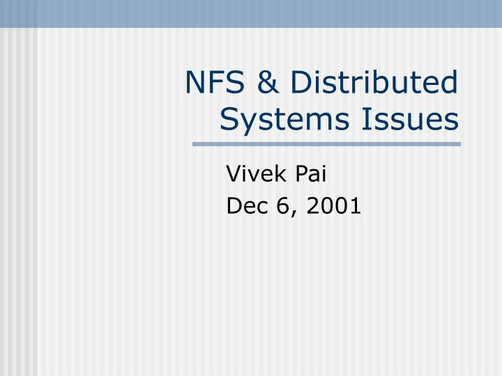 nfs distributed systems issues