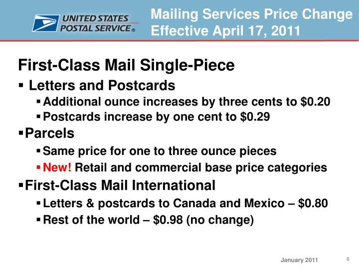 First-Class Mail Single-Piece