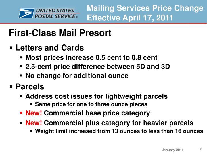 First-Class Mail Presort