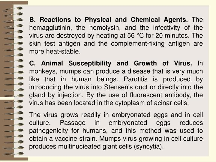 B. Reactions to Physical and Chemical Agents.