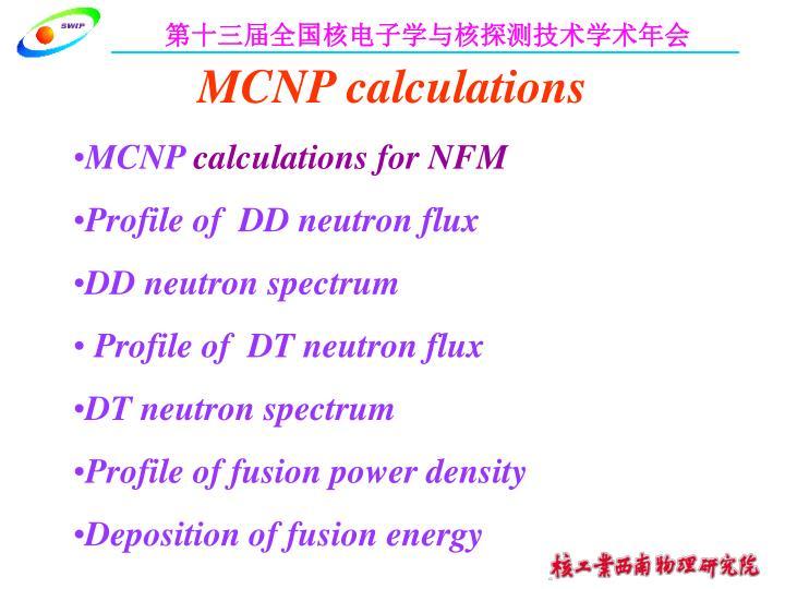 MCNP calculations