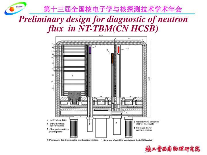 Preliminary design for diagnostic of neutron flux  in NT-TBM(CN HCSB)