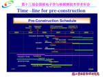 time line for pre construction