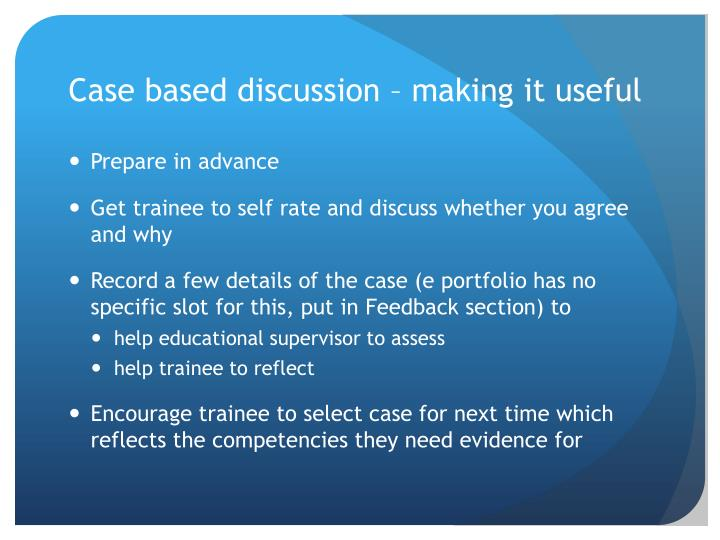 Case based discussion – making it useful