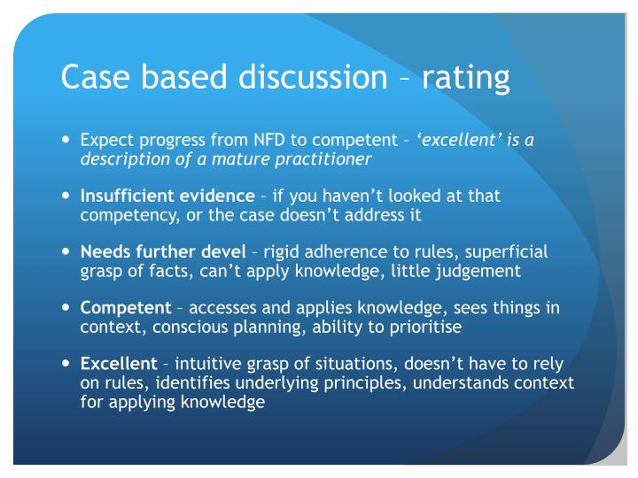 Case based discussion – rating