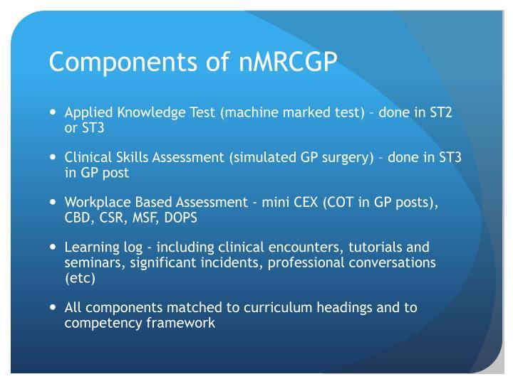 Components of nMRCGP