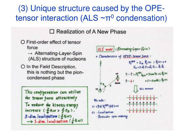 (3) Unique structure caused by the OPE-tensor interaction (ALS ~π