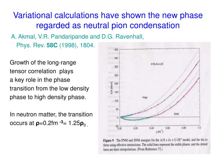 Variational calculations have shown the new phase regarded as neutral pion condensation