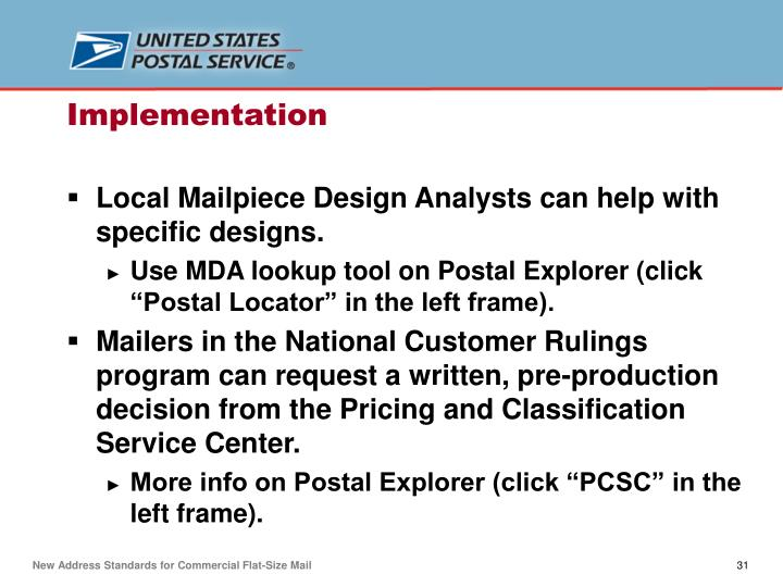Local Mailpiece Design Analysts can help with specific designs.