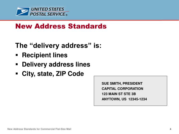 "The ""delivery address"" is:"