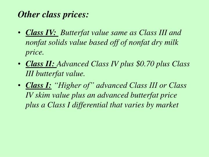 Other class prices: