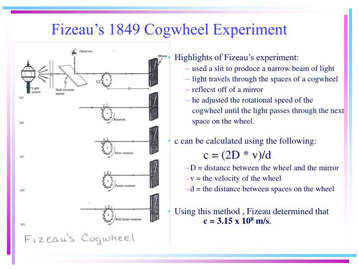 Fizeau's 1849 Cogwheel Experiment