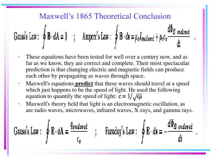 Maxwell's 1865 Theoretical Conclusion