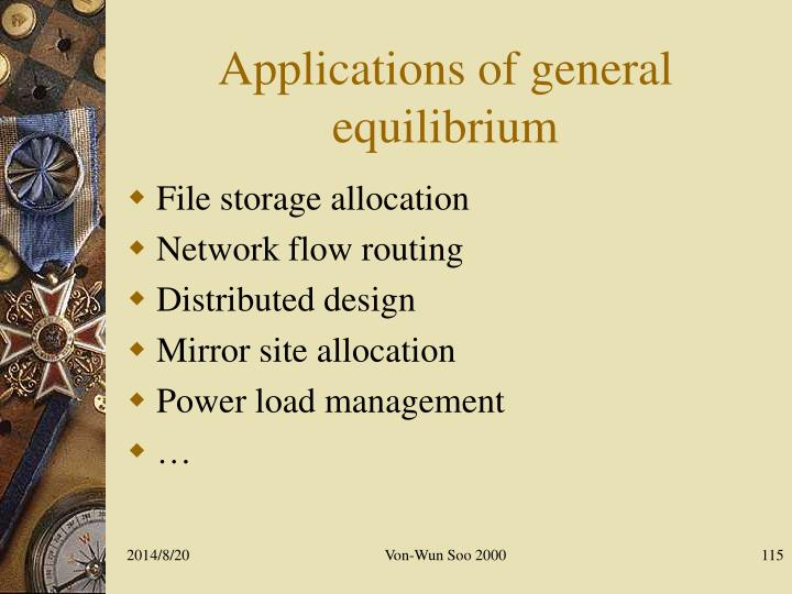Applications of general equilibrium