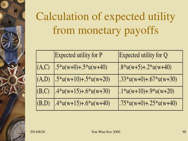 Calculation of expected utility from monetary payoffs